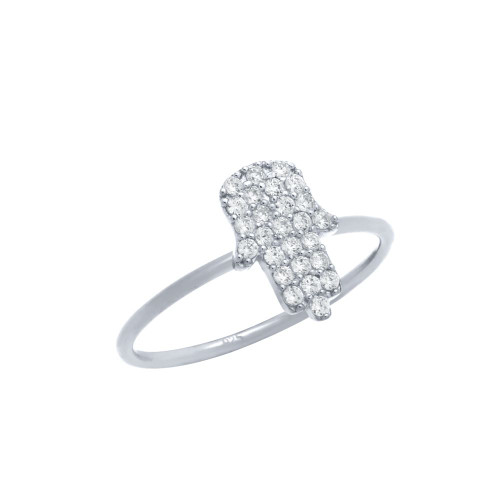RHODIUM PLATED CZ PAVE HAMSA STACKABLE RING