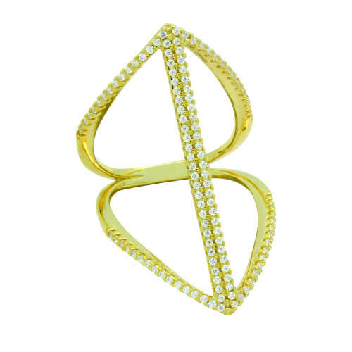 GOLD PLATED SPLIT-SHANK DOUBLE BAR MICRO PAVE CZ RING