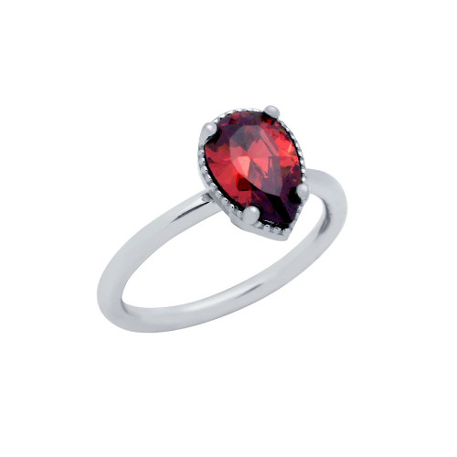 RHODIUM PLATED RED TEARDROP CZ RING