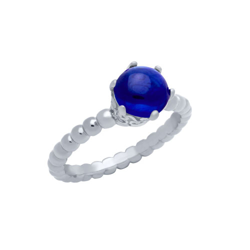 RHODIUM PLATED BEAD DESIGN RING WITH 5MM PRONG SET CABOCHON SAPPHIRE