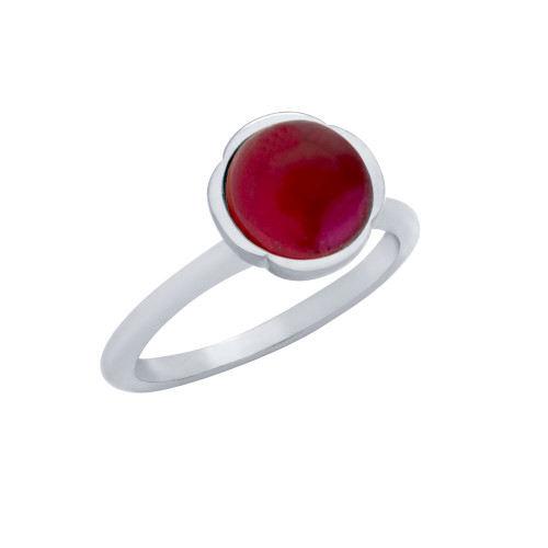 RHODIUM PLATED RING WITH 8MM CABOCHON RUBY