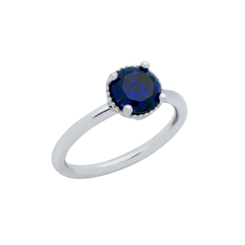 RHODIUM PLATED BLUE ROUND CZ RING