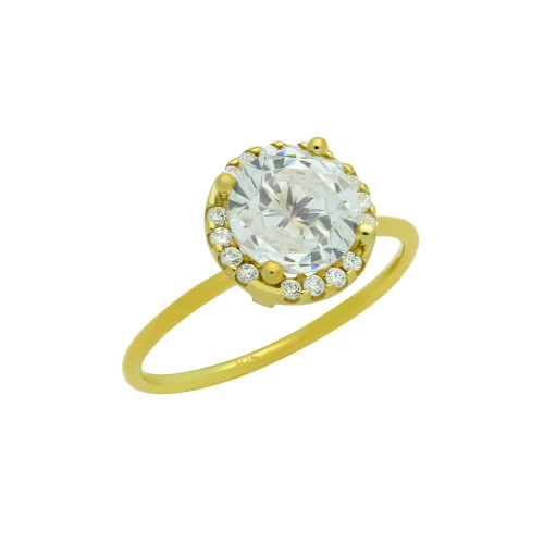 GOLD PLATED CLEAR 7.5MM ROUND CZ RING WITH SURROUNDING CLEAR CZ STONES