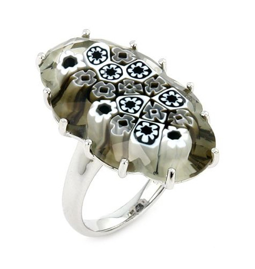MURANO MILLEFIORI BLACK AND WHITE FACETED OVAL RING