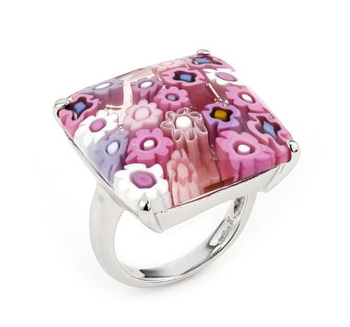 MURANO MILLEFIORI FACETED PINK 22x22MM SQUARE RING