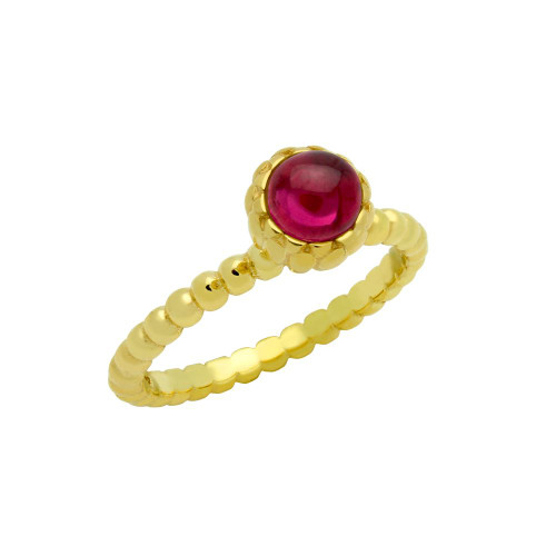 GOLD PLATED BEAD DESIGN RING WITH 5MM CABOCHON RUBY
