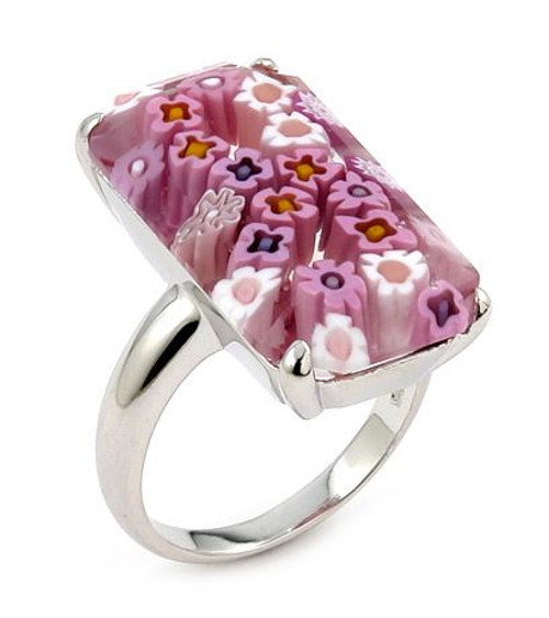 MURANO MILLEFIORI FACETED PINK 14X25MM SMALL RECTANGULAR SHAPE RING