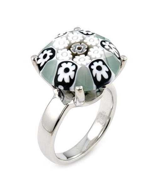EXQUISITE COLLECTION FACETED BLACK AND WHITE MURANO GLASS SMALL ROUND RING