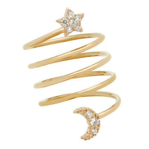 "ROSE GOLD PLATED SPIRAL ""SPRING RING"" WITH CZ PAVE MOON AND STAR"