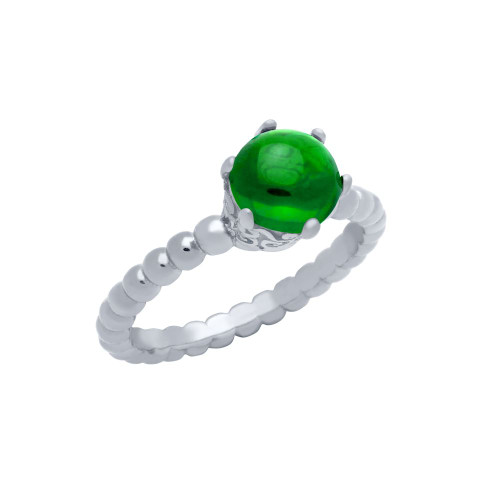 RHODIUM PLATED BEAD DESIGN RING WITH 5MM PRONG SET CABOCHON EMERALD