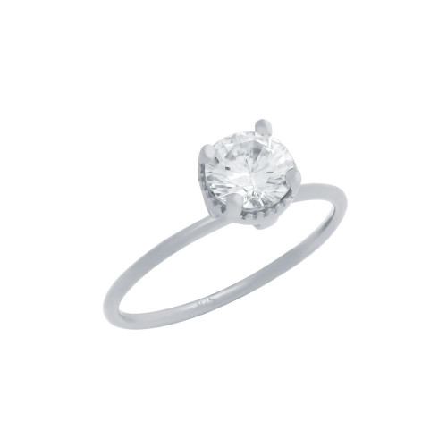 RHODIUM PLATED CLEAR 6.5MM ROUND CZ RING