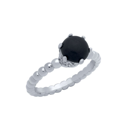 RHODIUM PLATED BEAD DESIGN RING WITH 5MM PRONG SET CABOCHON ONYX