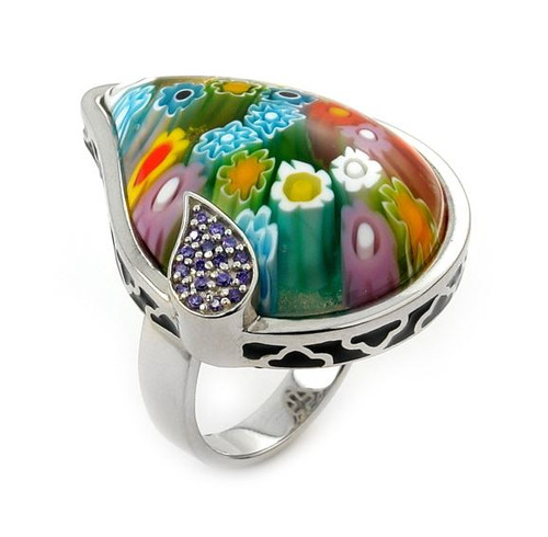 MURANO MILLEFIORI MULTICOLOR DROP RING WITH PURPLE CZ ACCENTS