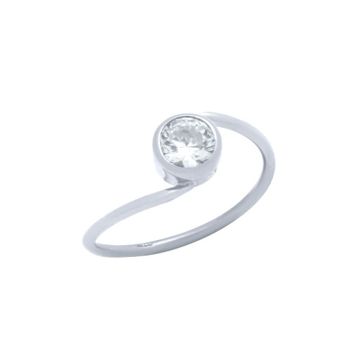 RHODIUM PLATED CROSSOVER RING WITH 5MM CZ