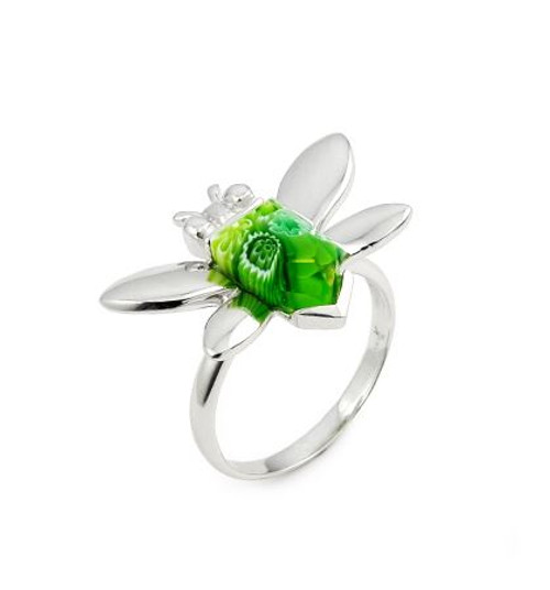 MURANO MILLEFIORI GREEN FACETED BEE RING