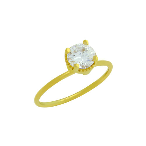 GOLD PLATED CLEAR 6.5MM ROUND CZ RING