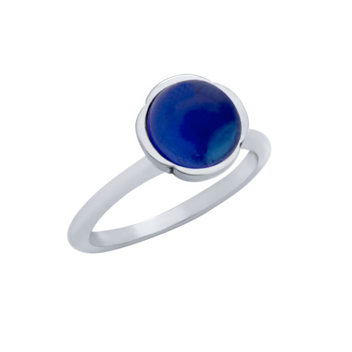 STERLING SILVER RING WITH 8MM CABOCHON SAPPHIRE