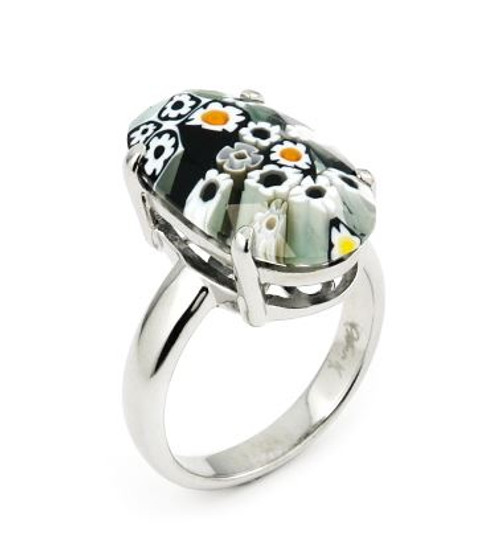 MURANO MILLEFIORI FACETED BLACK AND WHITE 10x20MM OVAL RING
