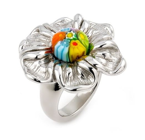 MULTICOLOR MURANO MILLEFIORI ELECTROFORM FLOWER RING