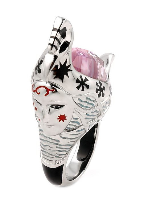 EXQUISITE COLLECTION FACETED PINK MURANO GLASS GONDOLA RING