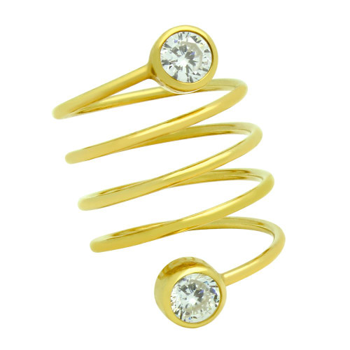 "GOLD PLATED SPIRAL ""SPRING RING"" WITH 5MM CZ"