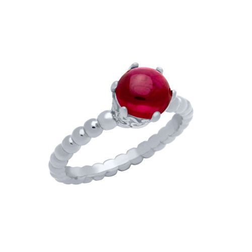 RHODIUM PLATED BEAD DESIGN RING WITH 5MM PRONG SET CABOCHON RUBY