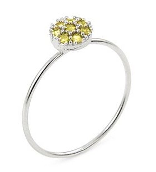PAVE YELLOW CZ ROUND STACKABLE RING