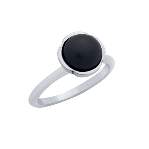 STERLING SILVER RING WITH 8MM CABOCHON ONYX