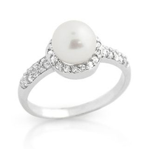 RHODIUM PLATED FRESHWATER PEARL AND CZ RING