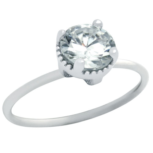 RHODIUM PLATED APRIL BIRTHSTONE CLEAR ROUND CZ RING