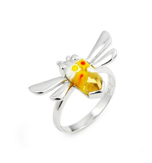 MURANO MILLEFIORI YELLOW FACETED DRAGONFLYRING