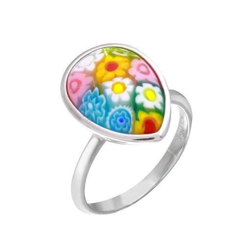 MULTICOLOR MURANO MILLEFIORI PEAR SHAPED THIN SHANK RING