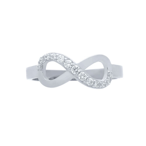 RHODIUM PLATED GRADUATING CZ INFINITY RING
