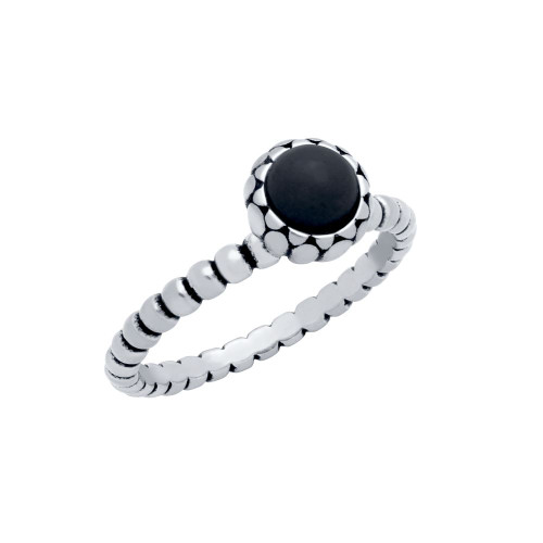STERLING SILVER BEAD DESIGN RING WITH 5MM CABOCHON ONYX