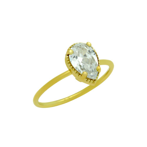 GOLD PLATED CLEAR 6X9MM TEARDROP CZ RING