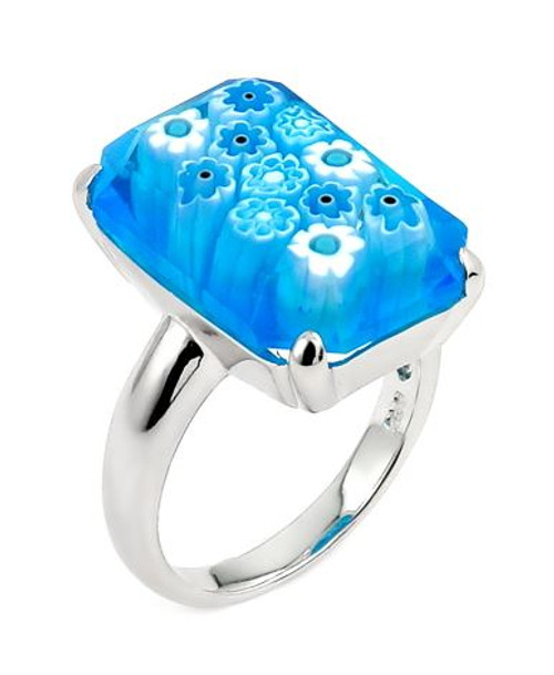 MURANO MILLEFIORI FACETED LIGHT BLUE 14X20MM SMALL RECTANGULAR SHAPE RING