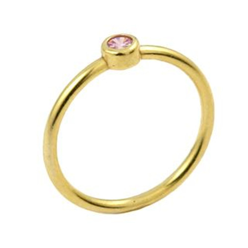 GOLD PLATED 3MM SWAROVSKI PINK CZ BEZEL SET STACKABLE BAND RING