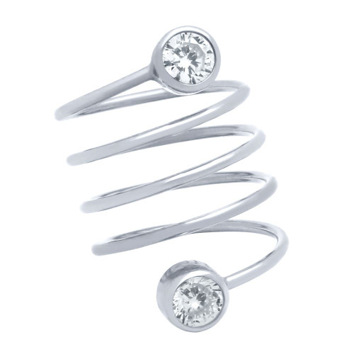 "RHODIUM PLATED SPIRAL ""SPRING RING"" WITH 5MM CZ"