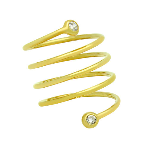 "GOLD PLATED SPIRAL ""SPRING RING"" WITH 3MM CZ"
