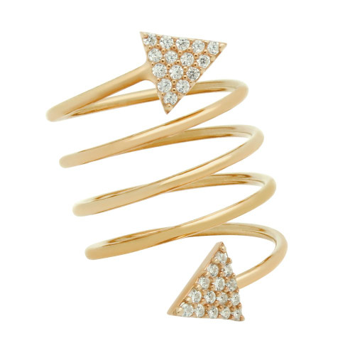 "ROSE GOLD PLATED SPIRAL ""SPRING RING"" WITH CZ PAVE TRIANGLES"