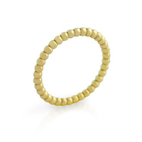 GOLD PLATED BEAD DESIGN STACKABLE BAND (SZ 9-12)