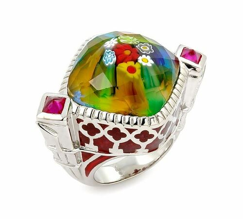 EXQUISITE COLLECTION FACETED MLT/RED MURANO GLASS SQUARE RING WITH RED STONE ACCENTS