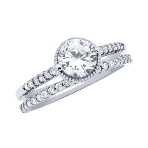 RHODIUM PLATED ROUND CZ RING AND ETERNITY BAND WEDDING SET