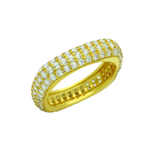 GOLD PLATED THREE ROW CZ PAVE RING
