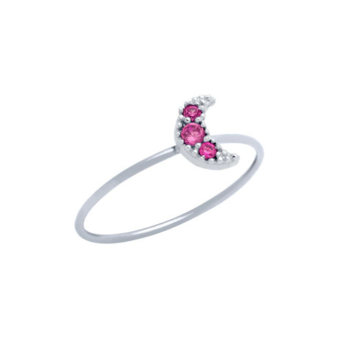 PAVE PINK CZ MOON STACKABLE RING