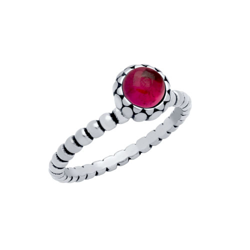 STERLING SILVER BEAD DESIGN RING WITH 5MM CABOCHON RUBY