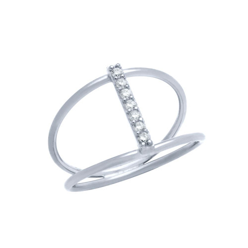 RHODIUM PLATED SPLIT SHANK CZ BAR RING