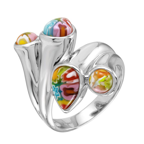 MULTICOLOR MURANO MILLEFIORI PEARS AND ROUNDS DOUBLE HEADED RING