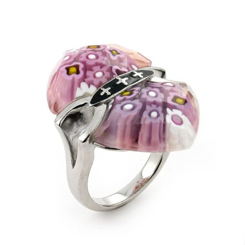 MURANO MILLEFIORI FACETED PINK RING WITH CROSS ACCENTS