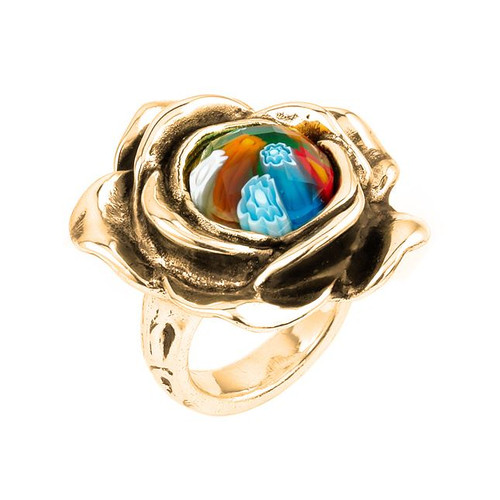 GOLD PLATED MURANO MILLEFIORI MULTICOLOR FACETED SMALL FLOWER RING WITH ELECTROFORM SILVER FRAME